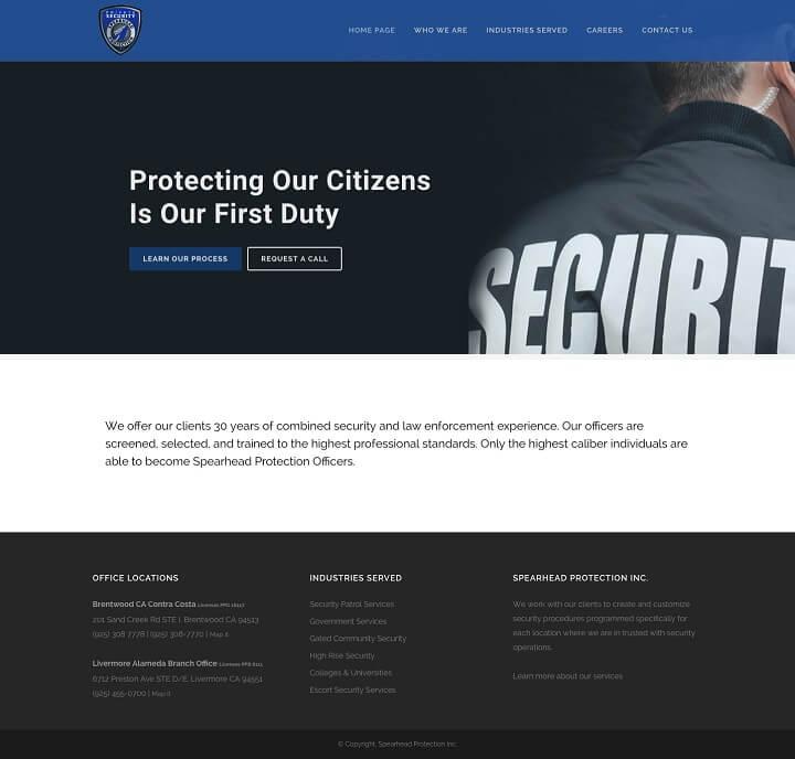 Spearhead Protection Inc. website design