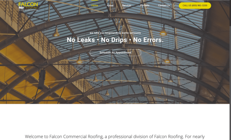 Commercial Falcon Roofing website design