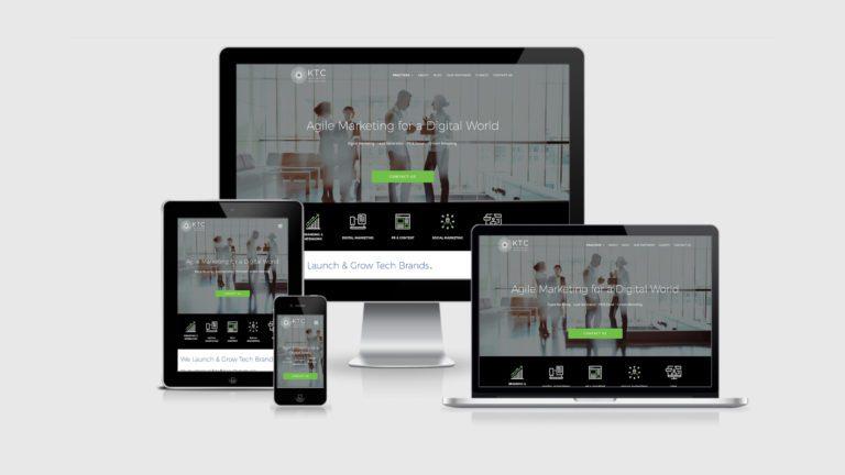 KTC Marketing and PR website design on screens