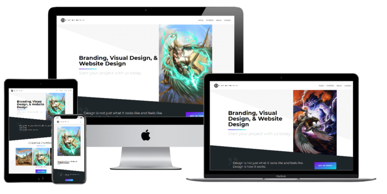 Concept Art Factory website design on multiple screens