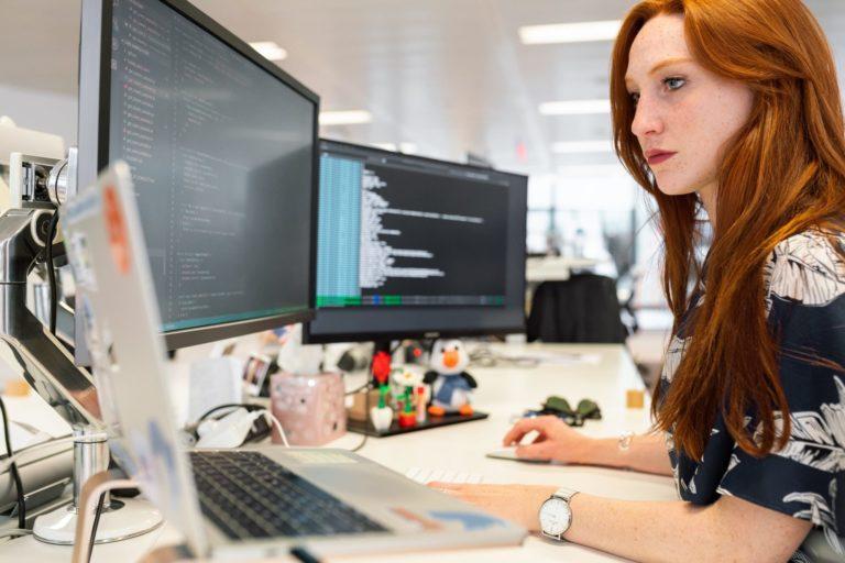 Website developer coding on a WordPress website